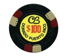 $100 CERROMAR BEACH Blk & 3 half Rd/Wht CASINO Chip DORADO Puerto Rico Bud Jones