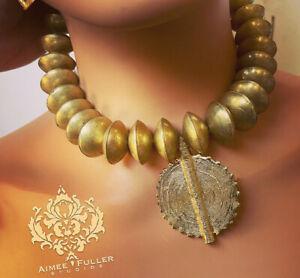 Aimee Fuller Tribal Ethiopian Brass Saucer Bead Statement Necklace Africa Ghana