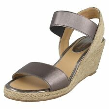 71f5bb56ac1 Ladies Savannah Mid Wedge Espadrilles F0767 Silver UK 4 Standard