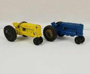 """Vintage HUBLEY (1) Yellow And (1) Blue Kiddie Toy 5"""" Long Tractors Made In USA"""