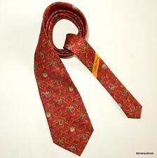 Salvatore Ferragamo Silk Tie Necktie Red with horse saddle & crop 9.5cm SUPERB