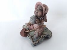 "Sarah's Attic Tessie Rabbit on Blanket Heart Ball Bear 1992 June 2 3/4"""