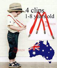 Kids Boys Red Skinny 15mm X-back  Elastic Suspenders Braces 1 to 8 years old