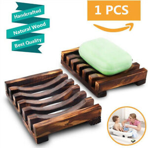 Natural Wooden Moisture-proof Soap Holder Storage Rack Hand Washing Soap Tray US