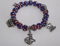 Patriotic Navy Wife Charm Bracelet - Military Wife July 4th