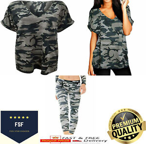 Womens Ladies Camouflage Grey V Neck Baggy Short Sleeve T Shirt Top Plus Size