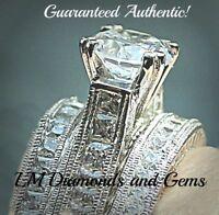 Sterling Silver 14k White Gold Wedding Set Princess or Round CZ Bridal Ring