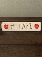 New Rae Dunn by Magenta Artisan LL Apple Decor #1 TEACHER Paperweight / Plaque