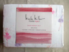NEW Nicole Miller 3pc Twin Sheet Set Dancing Ballerinas Pink Purple & White