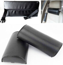 2 Pcs Carbon Fiber Look Memory Foam Vehicle Car Seat Headrest Neck Pillow Black