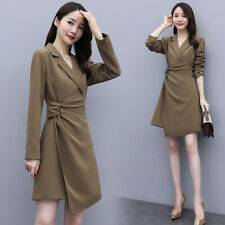 Fashion Women's Lapel Long Sleeve Knee Spring Autumn Belt Mini Dress b669