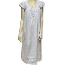Eileen West Nightgown Size L White Embroidered Cotton Lace Trim Loungewear Gown