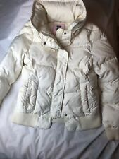 JUICY COUTURE Quilted PUFFER Jacket sz M - Off White Down Feather Coat