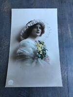 RPPC Tinted Antique Postcard Pretty Lady Hat Yellow Flowers In Blue