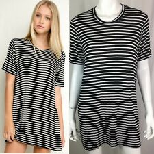 Brandy Melville Women's One Size OS Black White Striped Crew Tee T Shirt Dress