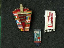 3 Memorial Pin Badges of Victims of WW2 Nazi Concentration Camps USSR-GDR-Poland