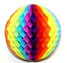 """Round rainbow colour honeycomb paper balls - party venue decorations 11.5"""""""