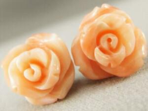 ESTATE NATURAL PINK CORAL CARVED FLOWERS 14KT YELLOW GOLD STUD EARRINGS #K1344.1
