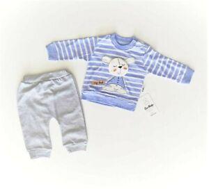 NEU Baby Jungen Outfit Strampler SET Shirt Hose 68 80 86 Gestreift Blau Maus