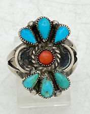Navajo Sterling Silver Turquoise Coral Ring Petit Point Sz 6.5 5.4g 7/8""