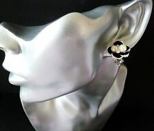 Pretty silver & black coloured flower shape CLIP ON studs with diamante & pearl