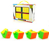 NEW 4Pcs Stickerless Magic Speed Cube Brain Teaser Gift Box Set 2x2 3x3 4x4 5x5