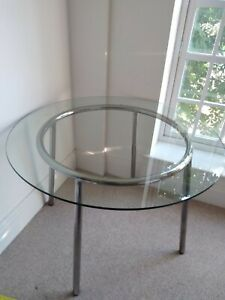 Small 4 seater Round Glass Top Dining Table