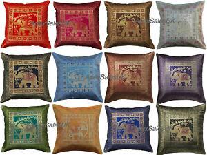 Indian Bohemian Mandala Silk Brocade Ethnic Sofa Cushion Covers Elephant Square