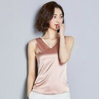 Lady Faux Silk Camisole Satin Vest Tops Tank Sleeveless Shirt Plain V Neck Basic