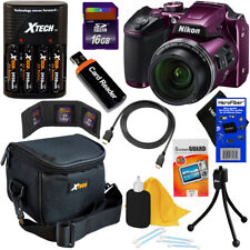 Nikon COOLPIX B500 16MP Wi-Fi Digital Camera (Plum) + Batts.& Charger + 16GB Kit