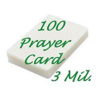 100 Prayer Card Laminating Pouches Sheets 3 Mil 2-3/4 x 4-1/2  Scotch Quality