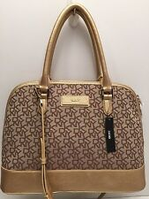 DKNY Handbag Gold T&C w/ Vintage PU Logo Shoulder Bag Purse Tote Satchel $285