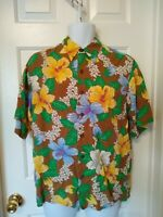 Reyn Spooner Hawaiian Aloha Button Front Short Sleeve M Medium Shirt Floral