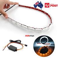 2* LED Headlight Fog Lamp Strip Light Daytime Running Flow Turn Signal Flexible