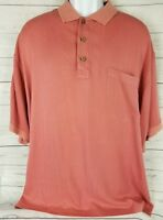 Tommy Bahama Mens XL Short Sleeve Shirt Silk Polo Pink Salmon Button Up