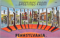 Large Letter Greetings from Bethlehem Pennsylvania PA Linen Unused Postcard A1