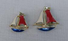 Vintage Gerry's Gold Toned Enameled Red White Blue Sailboat  Brooch Pin Lot of 2
