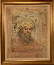 Edna Hibel Original Linen Lithograph with Frame 26x20""
