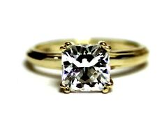 10k yellow gold princess cut cubic zirconia gemstone band ring 2.9g estate