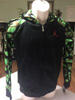 Nike Boy's Jordan Black Green Zip Up  Hoodie Size L