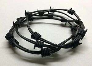 4 Barbed Wire Bracelets (Black, Silicone) - Goth Punk Rock Star Cosplay Lucille