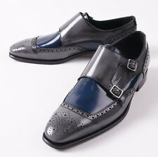 NIB $695 CANALI 1934 Blue and Gray Patent Leather Monkstraps US 9.5 D Shoes