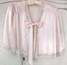 Vintage 1930s Soft Pink Alencon Lace Silk Ribbon Ties Bed Jacket Satin Lingerie