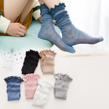 Womens Girl Lace Ankle Socks Bow Thin Cotton High Socks Middle Hosiery Stockings