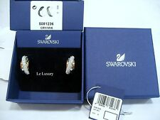 Swarovski Wave Pierced Earrings Pink & Silver Shades Crystal Authentic - 5081236
