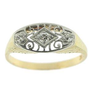 0.20ct Round Cut Diamond Ring Stackable Wedding Band Platinum & 14k Yellow Gold