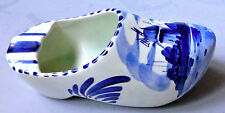 "Vintage Hand Painted Ashtray ~ White/Blue Dutch Clog Shoe Holland 4""3/4"
