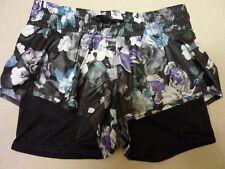 Stella McCartney Run 2 in 1 Short AX7269 Black Deep Purple Floral XS 8 Climalite