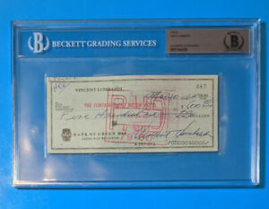VINCE LOMBARDI Autographed Signed Check Packers Beckett Authentic AUTO SLABBED