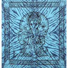 Blue Ganesh throw Fair Trade Elephant God Double Bed spread cover sofa drape NEW